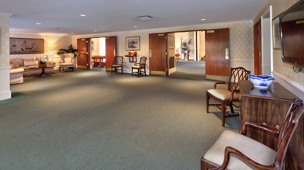 Lobby area of Chandler Funeral Home at Hockessin, Delaware