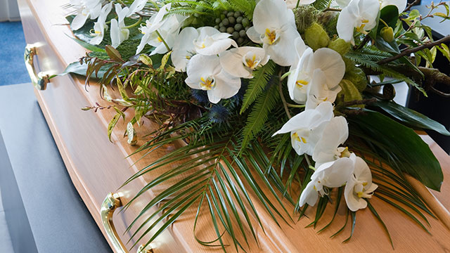 Chandler Funeral Homes - Photo of casket at a memorial service